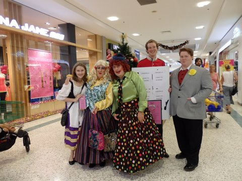 The ugly stepsisters, Cinderella, Prince Charming, Buttons and the Fairy Godmothers visit the local shopping center.